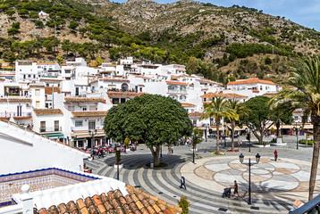Mijas Pueblo, the charming White Village of Costa del Sol, Andalucia, Spain. The Plaza Virgen de la Pena, the main square in town.