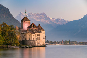 Chillon castle in Montreux during sunset in Switzerland