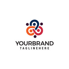 business people community logo design concept template vector
