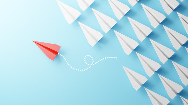 Illustration of leadership concept with red paper plane leading among white on blue background