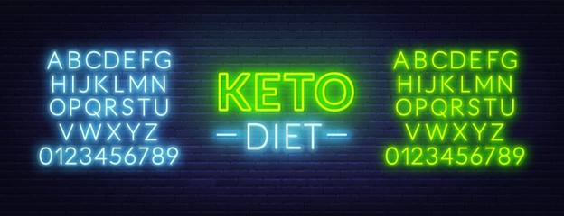 Neon keto diet sign on brick wall background. Neon alphabet . Vector illustration