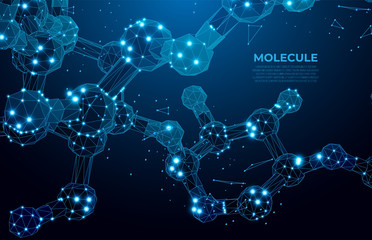 Scientific molecule background for medicine, science, technology, chemistry.  DNA digital, sequence, code structure. Science concept and nano technology background. Polygon vector wireframe concept Wall mural