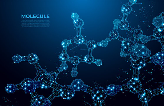 Scientific molecule low poly wireframe background for medicine, science, technology, chemistry.  Wallpaper or banner with a DNA molecules. Polygonal wireframe futuristic image