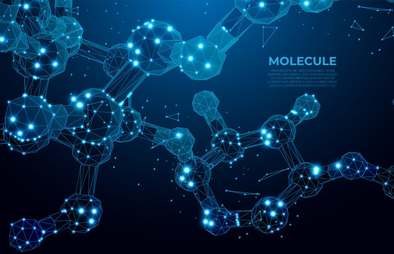 Scientific molecule background for medicine, science, technology, chemistry.  DNA digital, sequence, code structure. Science concept and nano technology background. Polygon vector wireframe concept
