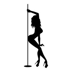 Obraz Vector silhouette of girl and pole on a white background. Pole dance illustration for fitness, striptease dancers, exotic dance. Vector illustration EPS10 for logotype, badge, icon, logo, banner, tag. - fototapety do salonu