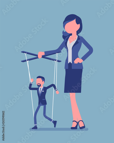 Marionette businessman manipulated and controlled by female