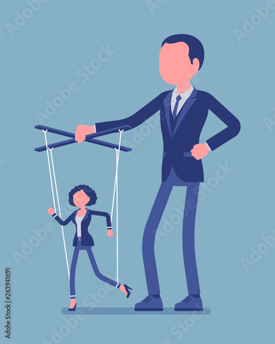Marionette businesswoman manipulated and controlled by male