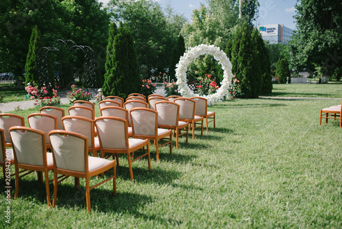 outdoor wedding ceremony decoration and decoration of an outdoor