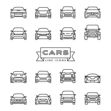 Modern cars line icons vector set