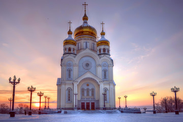 Skyward aimed domes. Transfiguration Cathedral  in Khabarovsk. Far East, Russia.