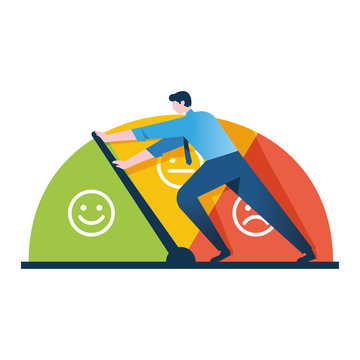 businessman keeps the scale of emotions from approaching stress, managing stress level in the workplace concept, can be use for web, banner, web, poster, social media