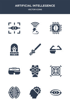 12 artificial intellegence vector icons such as 360 degrees, ai, ai brain, ai grid, ar camera contains ar glasses, ar monocle, wand, artificial atmosphere, artificial intelligence, wireless charging