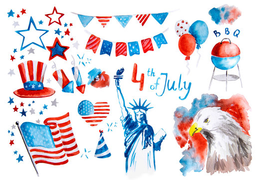 independence day of the usa set of symbol stickers hand drawn watercolor illustration with clipping path isolated on white