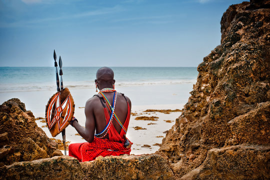 portrait of a Maasai warrior.