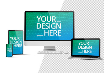 Computer, Laptop, and Mobile Devices on White Mockup