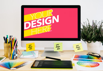 Design Studio Desk with Computer and Sticky Notes Mockup