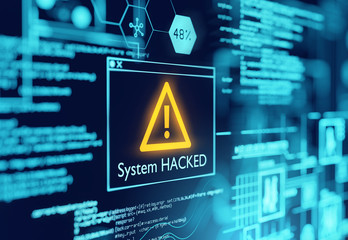 A computer popup box screen warning of a system being hacked, compromised software environment. 3D illustration. Wall mural