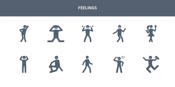 10 feelings vector icons such as accomplished human, aggravated human, alive human, alone amazed contains amazing amused angry annoyed anxious feelings icons