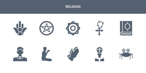 10 religion vector icons such as pastafarianism, pope, pray, prayer, priest contains quran, rosary, rub el hizb, satanism, semitic neopaganism. religion icons