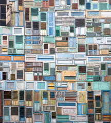 Wooden windows collage