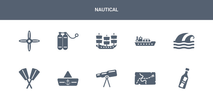 10 nautical vector icons such as message in a bottle, nautical map, nautical monocular, navy hat, oars contains ocean waves, oil tanker ship, old galleon, oxygen tank, propeller. icons