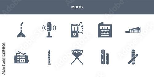 10 music vector icons such as clave, diapason, kettledrum
