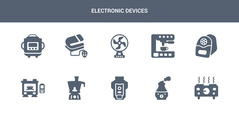 10 electronic devices vector icons such as hot plate, humidifier, garbage disposal, food processor, furnace contains electric pencil sharpener, espresso maker, electric fan, electric blanket,