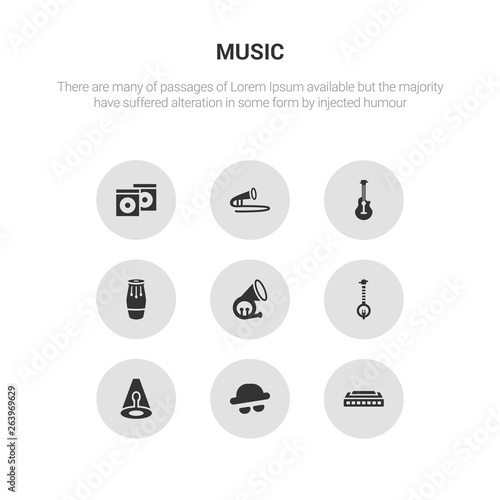9 round vector icons such as harmonica, s, music spotlight