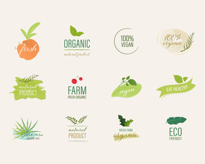 Organic label and natural label water color brush style. Farm fresh logo mark guaranteed.
