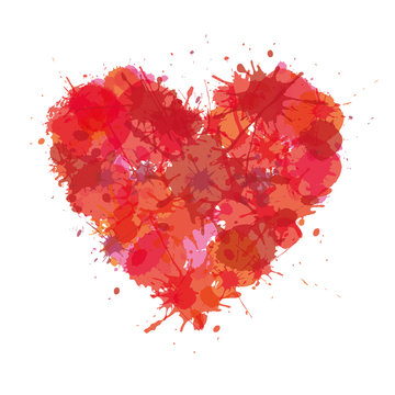 Heart made with color stain. Love grunge vector illustration..