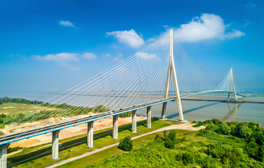 The Pont de Normandie, a road bridge across the Seine linking Le Havre to Honfleur in Normandy, France Fotomurales