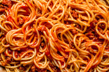 Spaghetti with Bolognese sauce. Wall mural