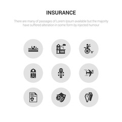 9 round vector icons such as coffin, long term protection, contract coverage, crash, death contains delivery insurance, disabled, disaster, drown. coffin, long term protection, icon3_, gray