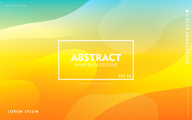 Dynamic wave background. Modern yellow and blue gradient color wavy abstract shape composition. Colorful fluid landing page. Wall mural