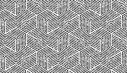 Foto op Canvas Geometrisch Abstract geometric pattern with stripes, lines. Seamless vector background. White and black ornament. Simple lattice graphic design