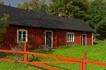 Rotes Farmhaus in Småland, Schweden