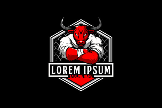 Bull cartoon for martial arts MMA logo template