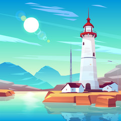 Wall Murals Green coral Lighthouse standing on rocky seashore surrounded with houses and tv tower under sun shining in cloudy sky. Marine landscape with white beackon on seaside. Tranquil nautical cartoon vector illustration