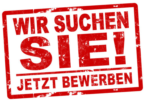 nlsb280 NewLongStampBanner nlsb - german positiv text: Wir suchen Sie! - Jetzt bewerben. Stempeltext / Einfach / rot / Druckvorlage / template. DIN A2, A3, A4 - new-version - xxl g7577