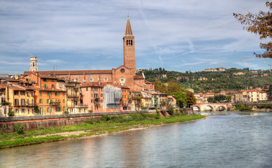 Verona on the Adige river in Verona, Italy