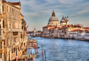 Historical buildings on the Grand Canal in Venice, Italy