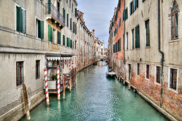Canal and historical buildings in Venice, Italy