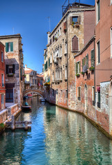 Historical houses on a canal in Venice, Italy