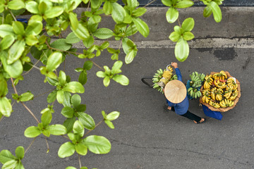 Person in asian bamboo hat walking with bananas on bike outdoors