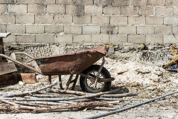 Old wheelbarrow in the garden