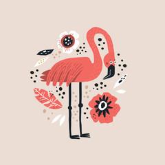 Fototapeta Flamingo vector hand drawn illustration obraz