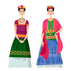 Two Mexican girls in costumes Frida Kahlo style.