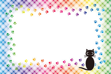 #Background #wallpaper #Vector #Illustration #design #free #free_size #charge_free #colorful #color rainbow,show business,entertainment,party,image  背景素材,ピクチャーフレーム,写真枠,ねこ,足跡,肉球,ペット,チェック模様,名札,値札,動物,額縁