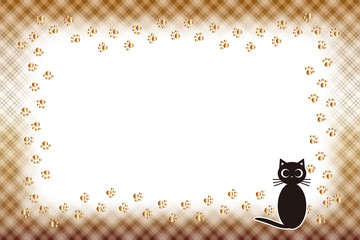 #Background #wallpaper #Vector #Illustration #design #free Photo frame,picture frame,copy space,character,text,message,title,sign,party,name plate,card,price tag 写真枠,ねこ,足跡,肉球,ペット,チェック模様,名札,値札,動物,額縁