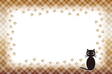 背景素材,ピクチャーフレーム,写真枠,ねこ,足跡,肉球,ペット,チェック模様,名札,値札,動物,額縁
